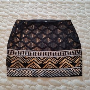 EXPRESS Black/Gold/Silver Sequined Mini Skirt - XS
